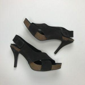 Pedro Garcia Shoes - Pedro Garcia Suede Crossover Cork Heels